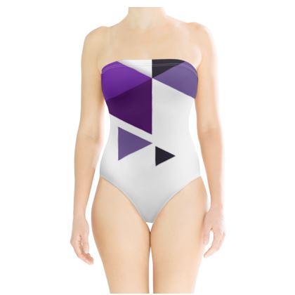 Strapless Swimsuit - Geometric Triangles Purple
