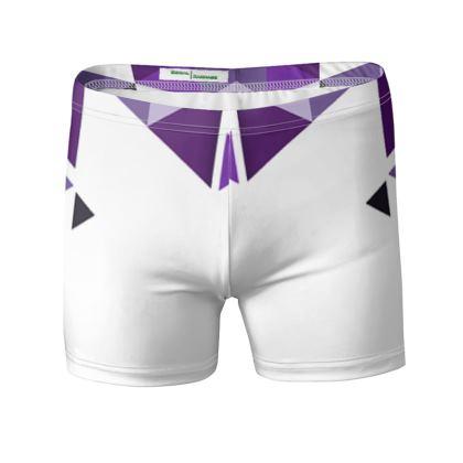 Swimming Trunks - Geometric Triangles Purple