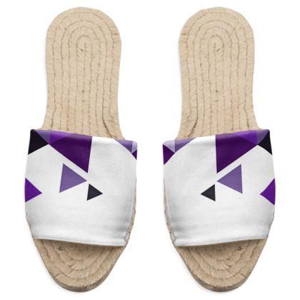 Sandal Espadrilles - Geometric Triangles Purple