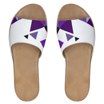 Womens Leather Sliders - Geometric Triangles Purple