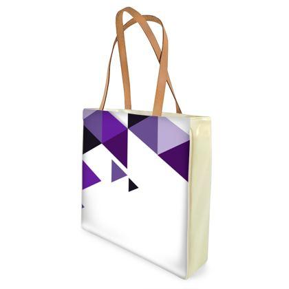 Beach Bag - Geometric Triangles Purple