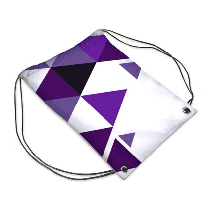Swim Bag - Geometric Triangles Purple