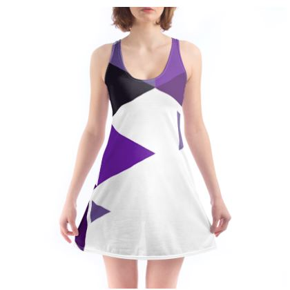 Beach Dress - Geometric Triangles Purple