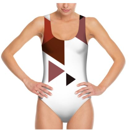 Swimsuit - Geometric Triangles Red