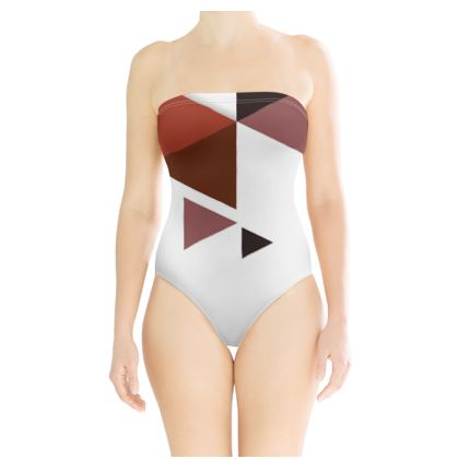 Strapless Swimsuit - Geometric Triangles Red