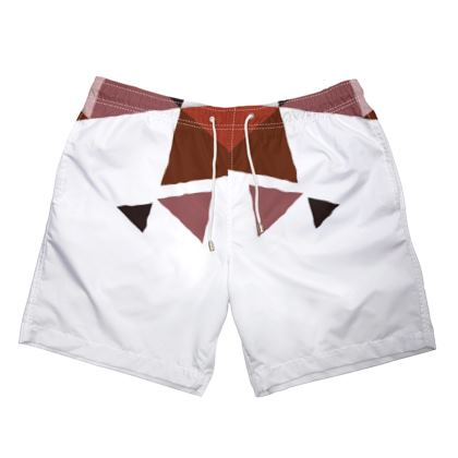 Mens Swimming Shorts - Geometric Triangles Red
