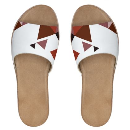 Womens Leather Sliders - Geometric Triangles Red