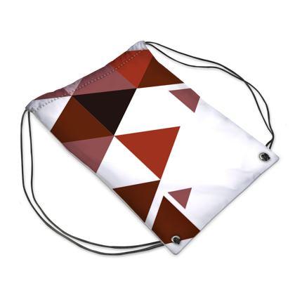 Swim Bag - Geometric Triangles Red