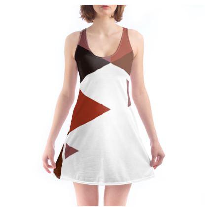 Beach Dress - Geometric Triangles Red