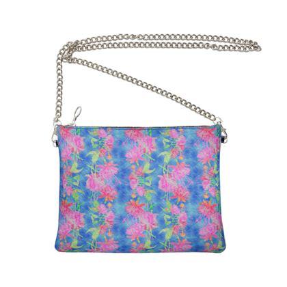 Crossbody Bag with Chain Blue, Pink  Fuchsias  Magic