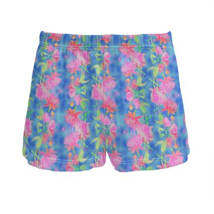Ladies Silk Pyjama Shorts Blue, Pink, Floral  Fuchsias  Magic