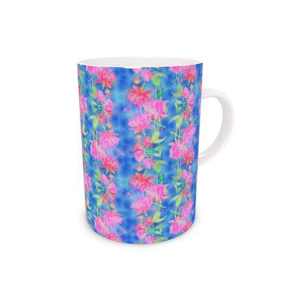 Bone China Mug Blue, Pink  Fuchsias  Magic