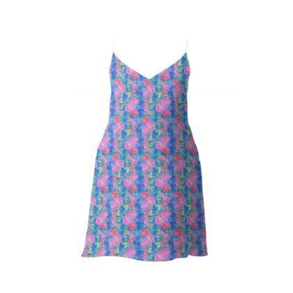 Slip Dress Blue, Pink, Floral  Fuchsias  Magic