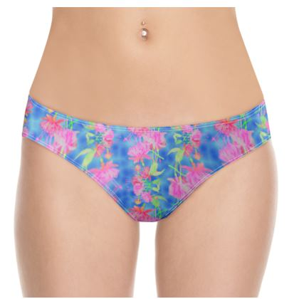 Knickers Blue, Pink Floral  Fuchsias  Magic