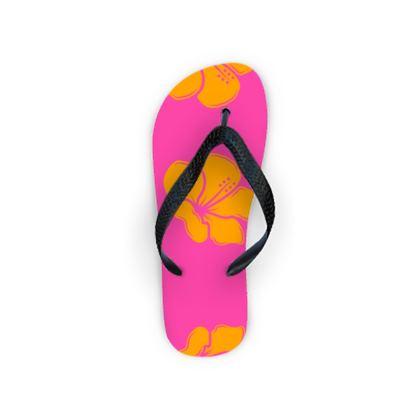 Flip Flops- Emmeline Anne Flower Statement Pink/Orange