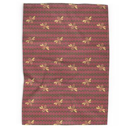 Field of Bees Floral Pinks Pattern Tea Towel