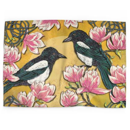 Magpies & Magnolias Tea Towel