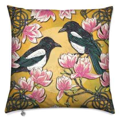 Magpies & Magnolias Cushion