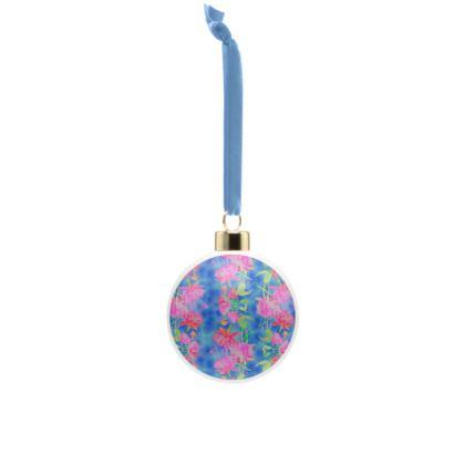 Bone China Baubles Blue, Pink Floral  Fuchsias  Magic