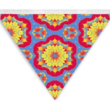 Bunting Red, Gold, Blue Floral  Geometric Florals, Slipstream  Citadel, Treasure
