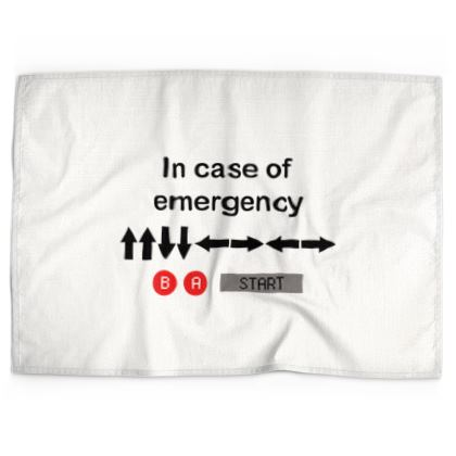 Tea Towels - In Case of Emergency - Use Cheat Code 2 (Black Text)