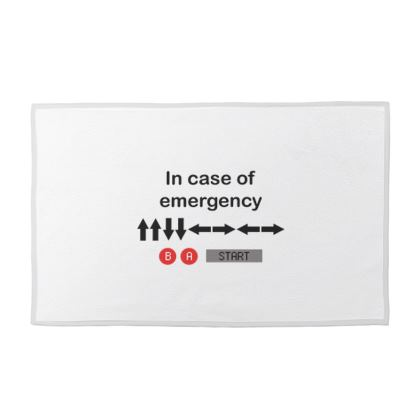 Towel Set - In Case of Emergency - Use Cheat Code 2 (Black Text)