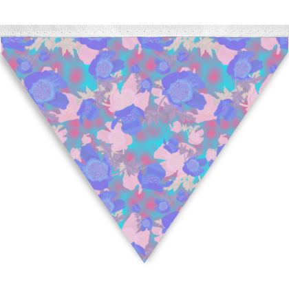 Bunting Blue, Pink, Floral   Blue Poppies, Oriental Leaves   Evening Poppies, Snow and Blue Leaves  Evening Poppies,