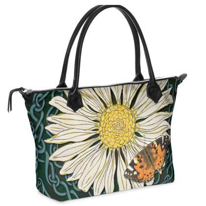 Daisy and Butterfly Zip Top Handbag