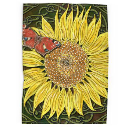 Sunflower and Butterfly Tea Towel