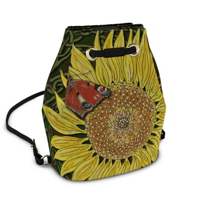 Sunflower and Butterfly Bucket Backpack