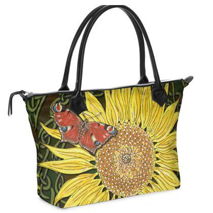 Sunflower and Butterfly Zip Top Handbag