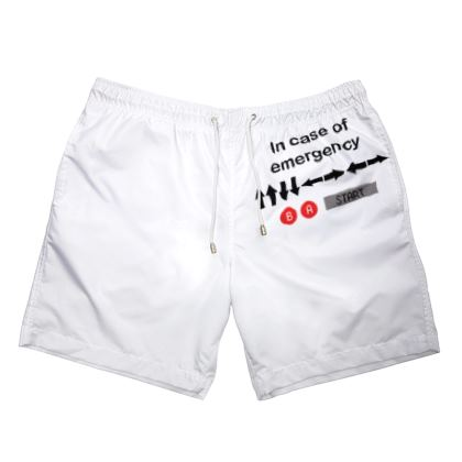 Mens Swimming Shorts - In Case of Emergency - Use Cheat Code 2 (Black Text)