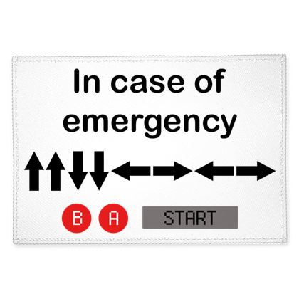Fabric Placemats - In Case of Emergency - Use Cheat Code 2 (Black Text)