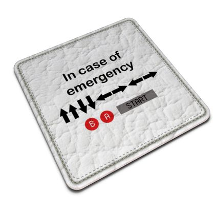 Leather Coasters - In Case of Emergency - Use Cheat Code 2 (Black Text)