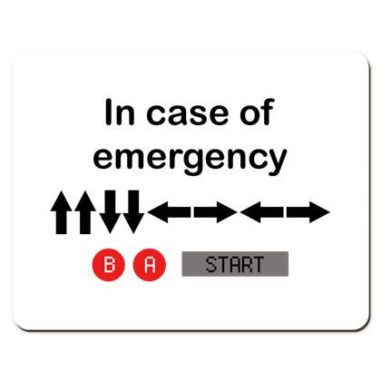 Placemats - In Case of Emergency - Use Cheat Code 2 (Black Text)