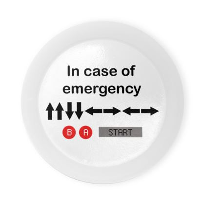 Round Coaster Trays - In Case of Emergency - Use Cheat Code 2 (Black Text)
