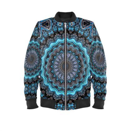 Blue Mandala Mens Bomber Jacket
