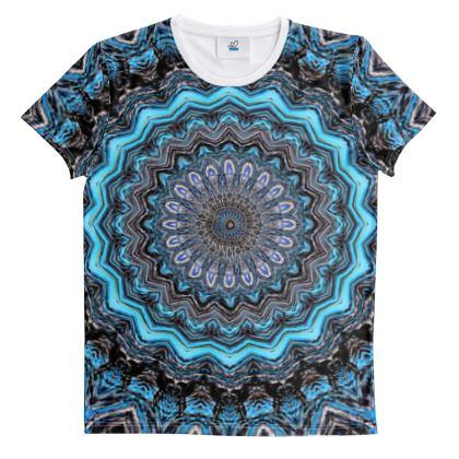 Blue Mandala Cut And Sew All Over Print T Shirt