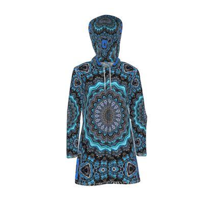 Blue Mandala Womens Hooded Rain Mac