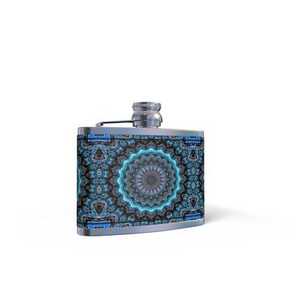 Blue Mandala Leather Wrapped Hip Flask