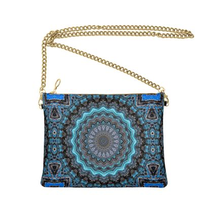 Blue Mandala Crossbody Bag With Chain