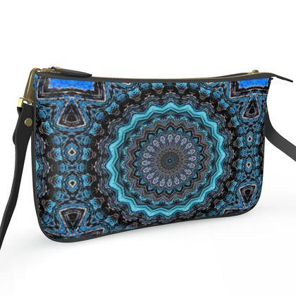Blue Mandala Pochette Double Zip Bag