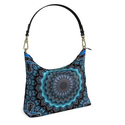 Blue Mandala Square Hobo Bag