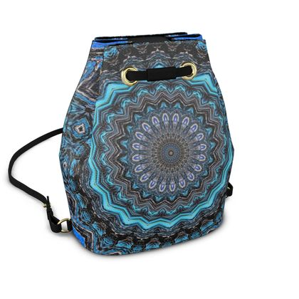 Blue Mandala Bucket Backpack