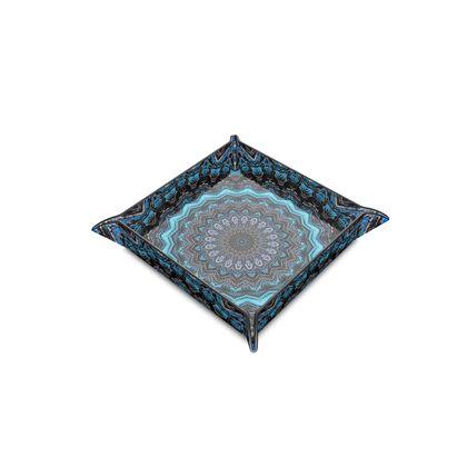 Blue Mandala Leather Trinket Tray