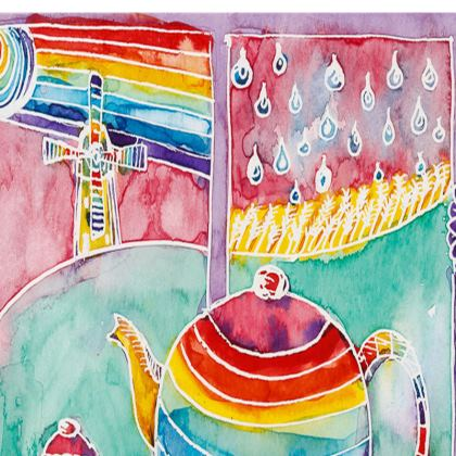 Rainbow Teapot medium tray (27x20cm)