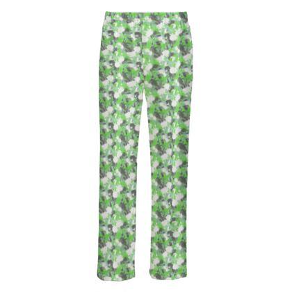 Mens Silk Pyjama Bottoms Green  Fuchsias  Minted