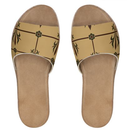 Womens Leather Sliders - Insignia Pattern 1