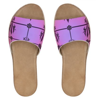 Womens Leather Sliders - Insignia Pattern 2