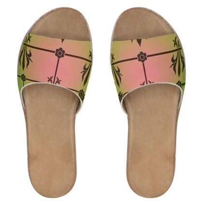 Womens Leather Sliders - Insignia Pattern 3